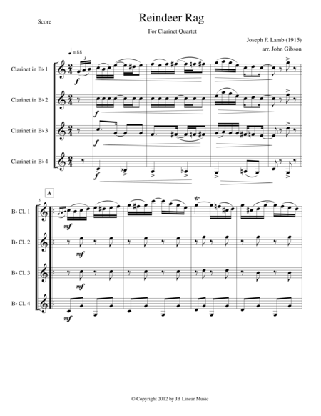 Reindeer Rag by Joseph Lamb for Clarinet Quartet