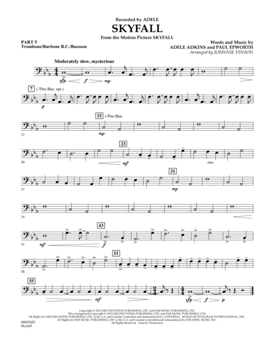 Skyfall - Pt.5 - Trombone/Bar. B.C./Bsn.