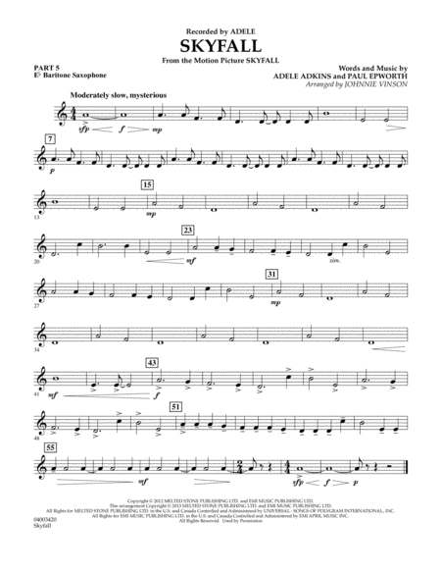 Skyfall - Pt.5 - Eb Baritone Saxophone