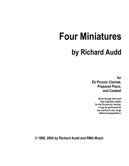 4 Miniatures for Clarinet, Cowbell, and Prepared Piano