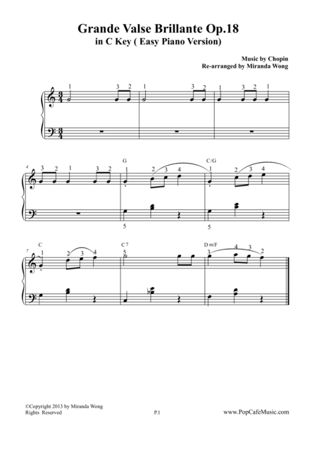 Waltz No.1 in C Key (Grande Valse Brillante Op.18)