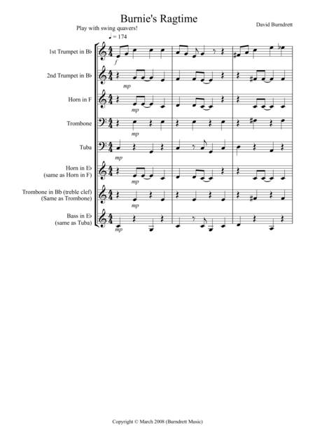 Burnie's Ragtime for Brass Quintet