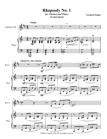 Rhapsody No. 1 for Clarinet and Piano