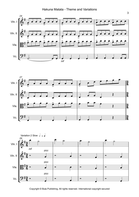Hakuna Matata Theme & Variation - Easy String Quartet - Score