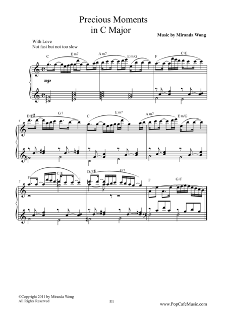 Precious Moments in C Key - Wedding Piano Music