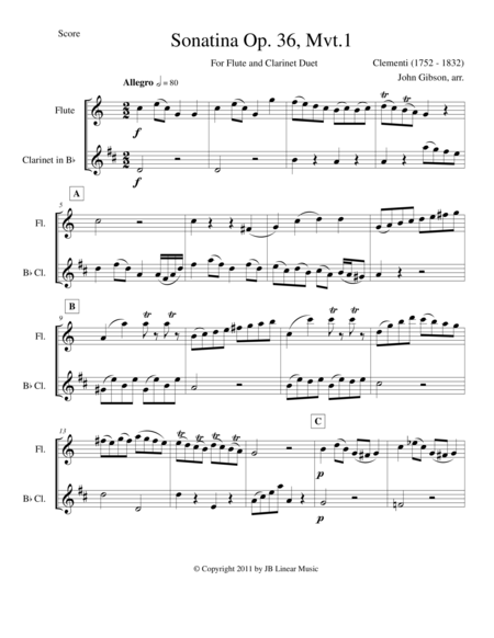 Clementi Duo for Flute and Clarinet