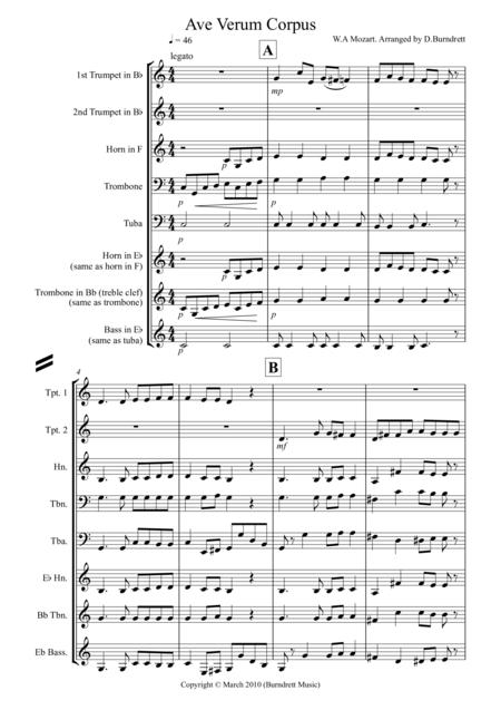 Ave Verum Corpus for Brass Quintet