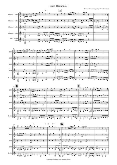 Rule, Britannia for Clarinet Quintet