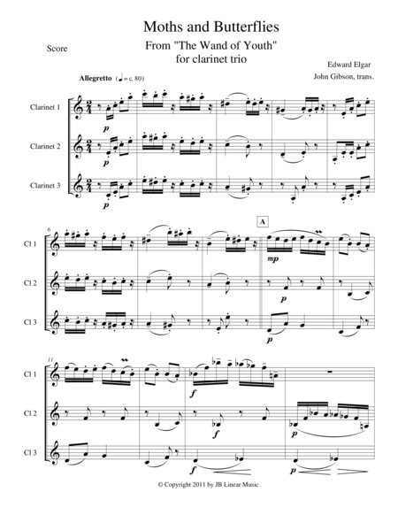 Moths and Butterflies by Elgar for clarinet trio