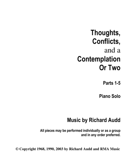 Thoughts, Conflicts, and a Contemplation or Two