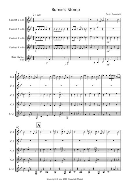 Burnie's Stomp for Clarinet Quintet