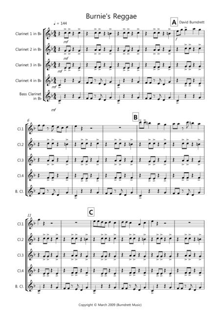 Burnie's Reggae for Clarinet Quintet