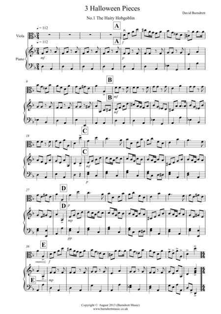 3 Halloween Pieces for Viola and Piano