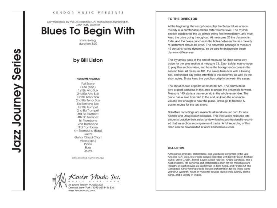 Blues To Begin With - Full Score