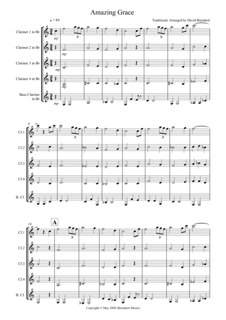 Amazing Grace for Clarinet Quintet