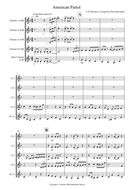 American Patrol for Clarinet Quintet