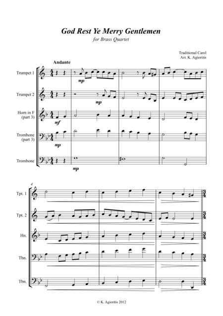 God Rest Ye Merry Gentlemen - Jazz Carol for Brass Quartet