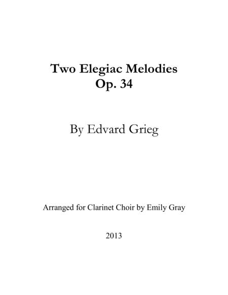 Two Elegiac Melodies for Clarinet Choir (Score)