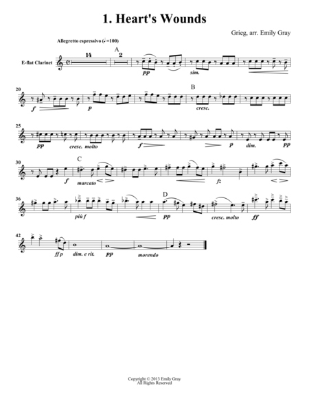 Two Elegiac Melodies for Clarinet Choir (Set of Parts)