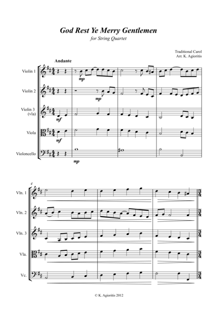 Jazz Carol Collection for String Quartet - Set Seven: God Rest Ye Merry Gentlemen; Children Go Where I Send Thee and Joy to the (rockin') World