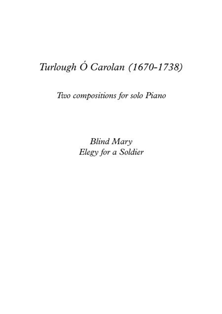 Turlough O Carolan for solo Piano with finger positions and mp3