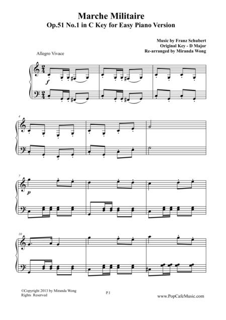 Marche Militaire Op.51 No.1 in - C Key Version