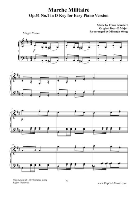 Marche Militaire Op.51 No.1 in D Key