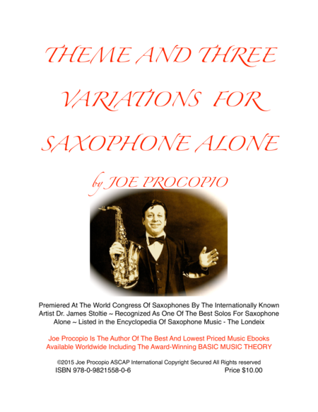 THEME AND THREE VARIATIONS FOR SAXOPHONE ALONE by Joe Procopio
