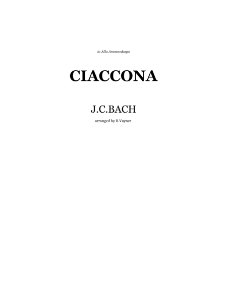 Bach-Vayner, Chaconne for string quartet ( or chamber orchestra)