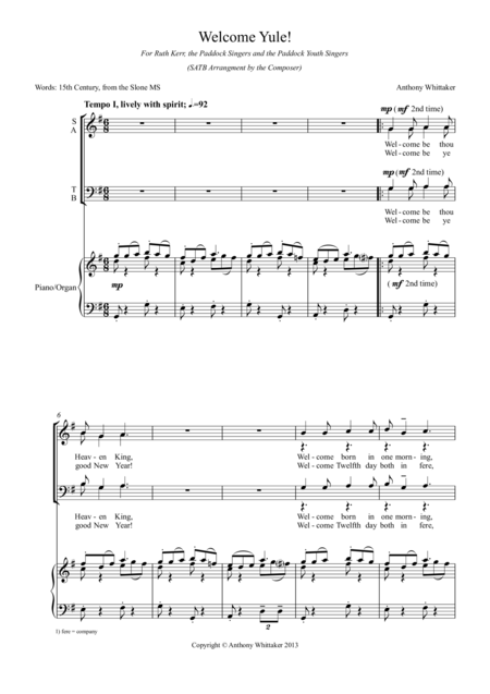 Welcome Yule! (SATB and Piano/Organ)