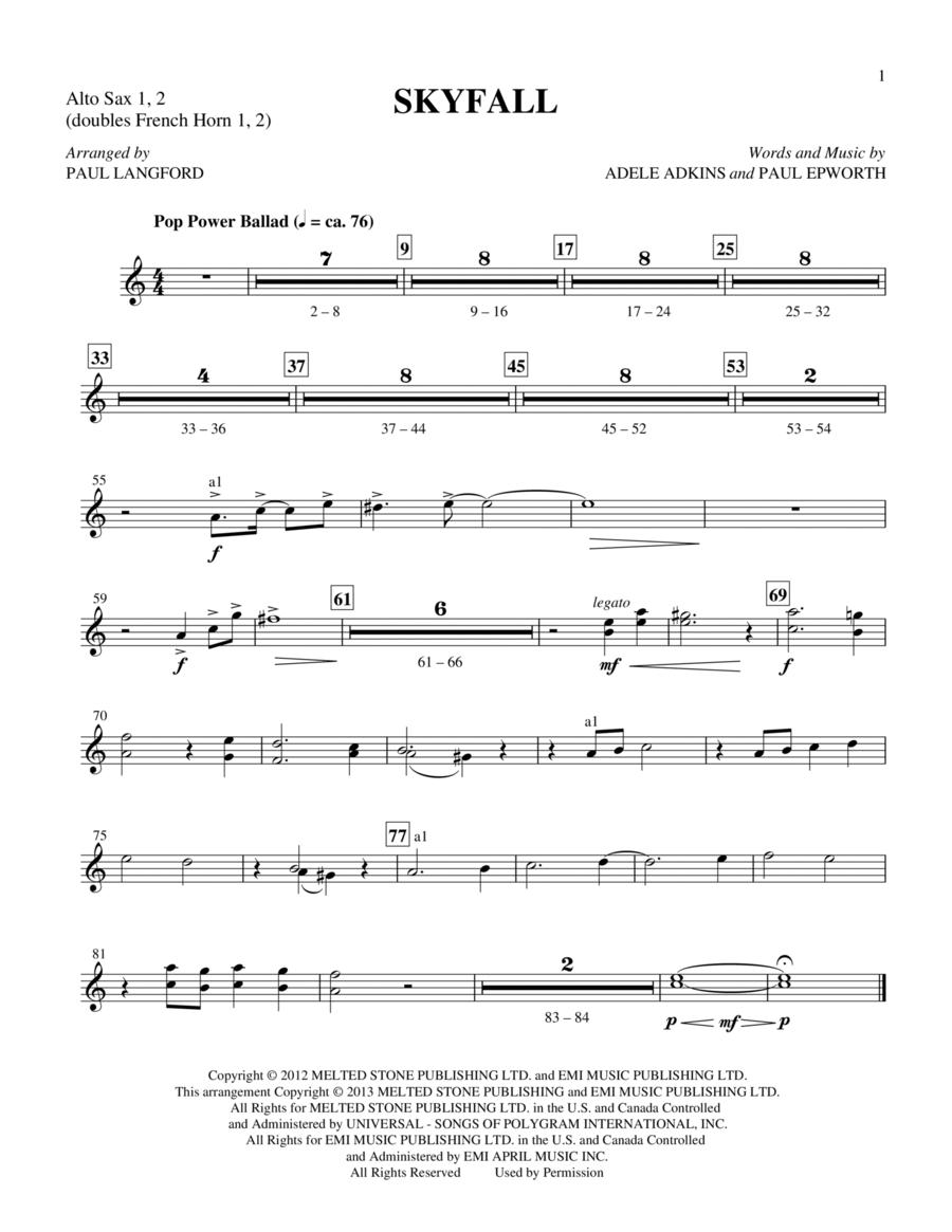 Skyfall - Alto Sax 1 & 2 (Sub. Horn)