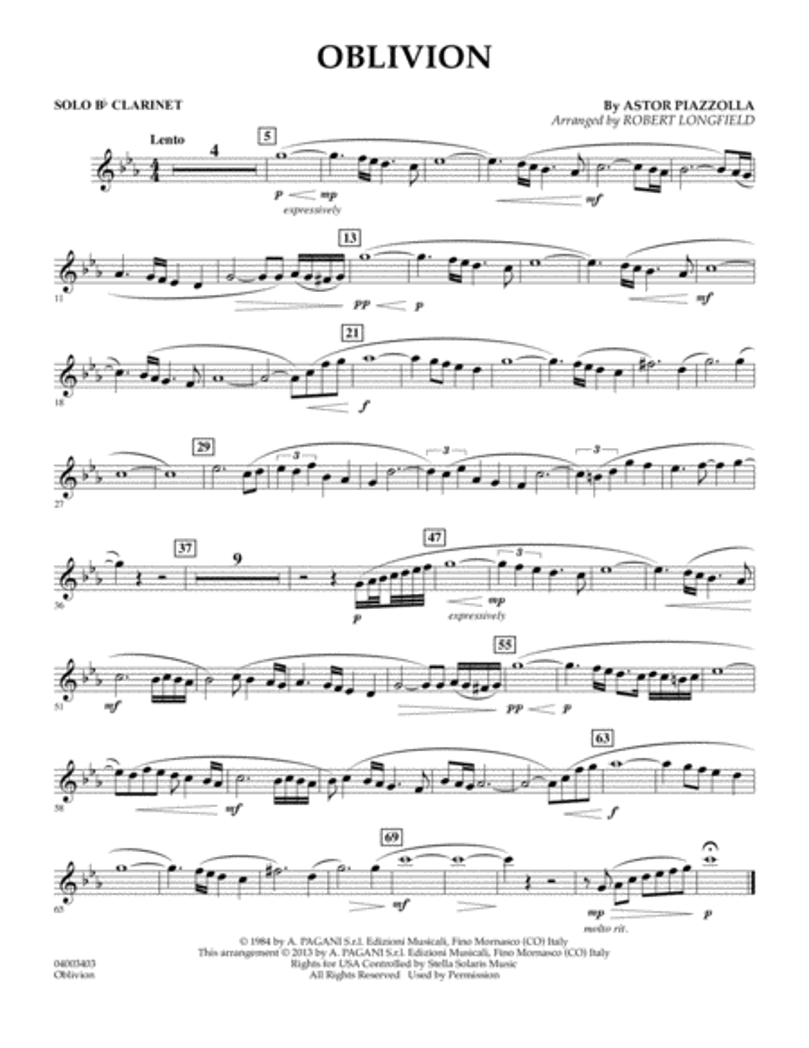 Oblivion - Solo Bb Clarinet