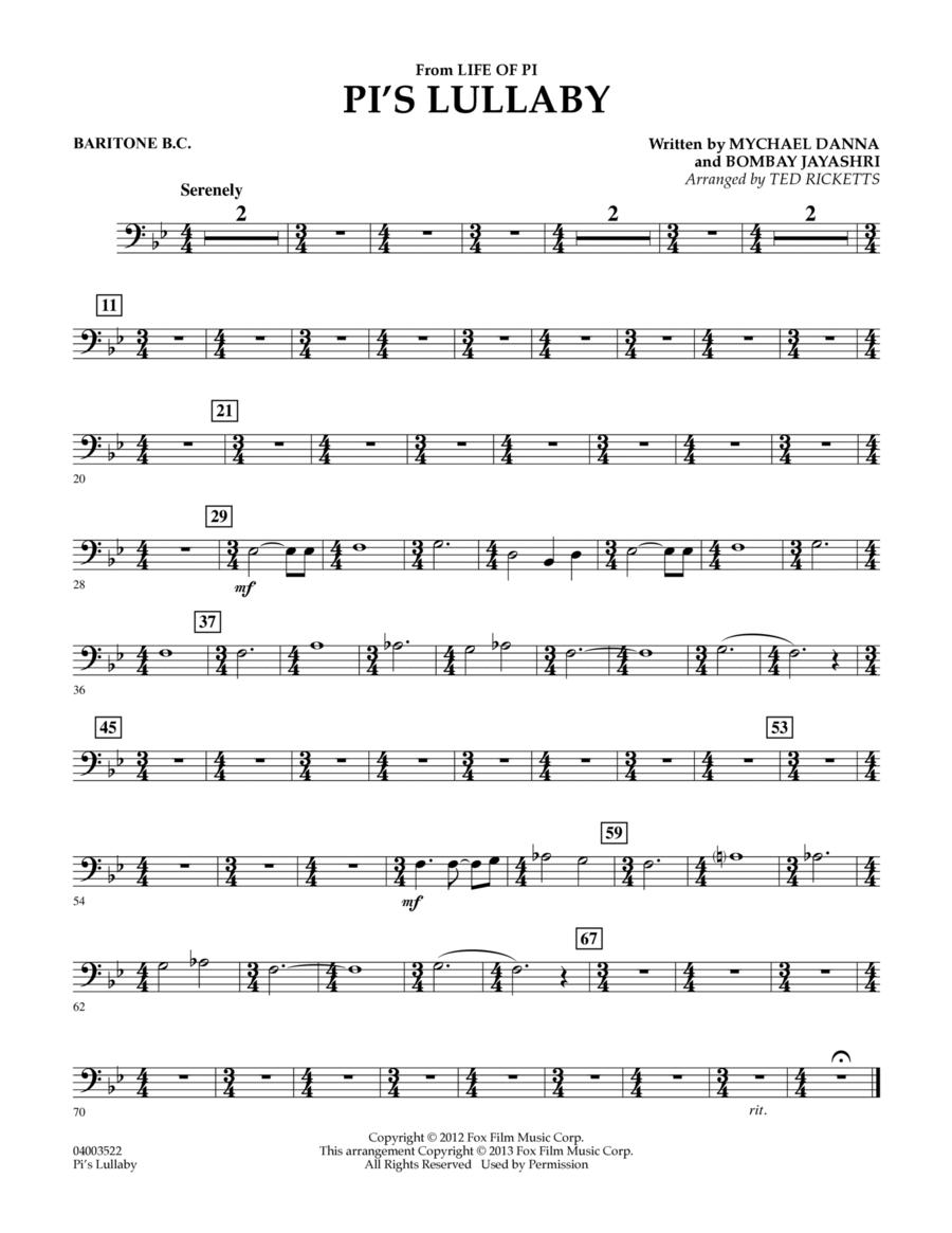 Pi's Lullaby (from Life of Pi) - Baritone B.C.