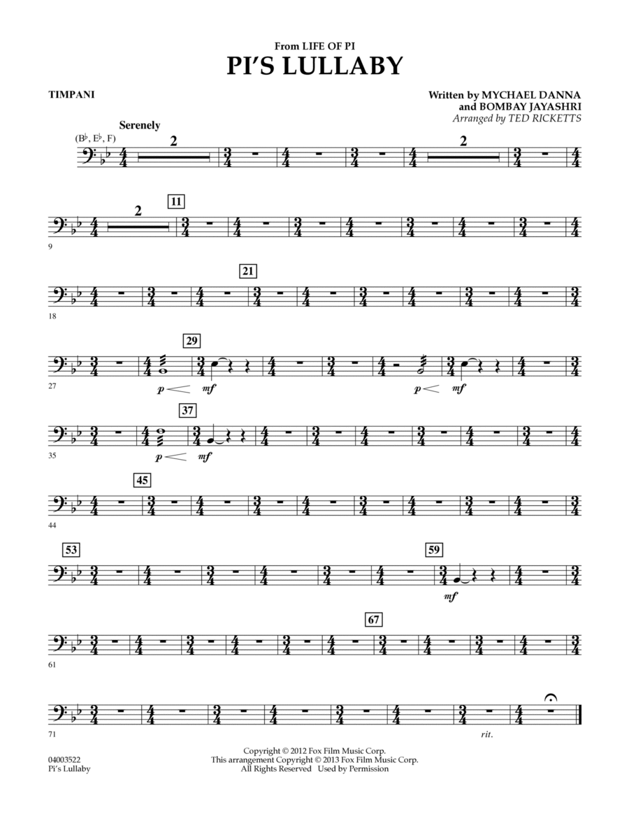 Pi's Lullaby (from Life of Pi) - Timpani