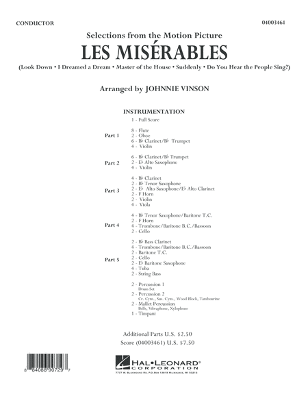 Les Miserables (Selections from the Motion Picture) - Conductor Score (Full Score)