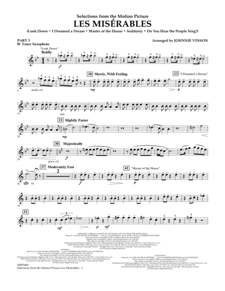 Les Miserables (Selections from the Motion Picture) - Pt.3 - Bb Tenor Saxophone