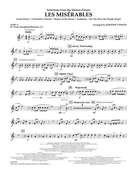 Les Miserables (Selections from the Motion Picture) - Pt.4 - Bb Tenor Sax/Bar. T.C.