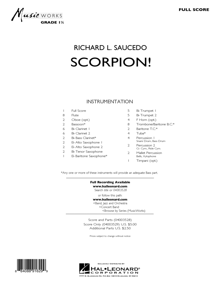 Scorpion! - Conductor Score (Full Score)