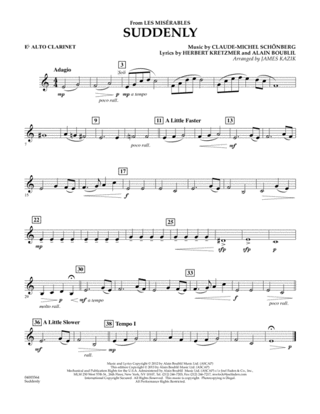 Suddenly (from Les Miserables) - Eb Alto Clarinet