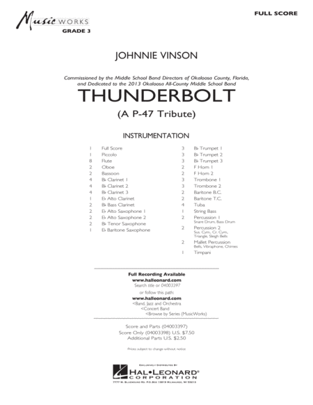 Thunderbolt (A P-47 Tribute) - Conductor Score (Full Score)