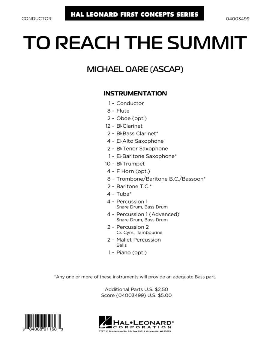 To Reach the Summit - Conductor Score (Full Score)