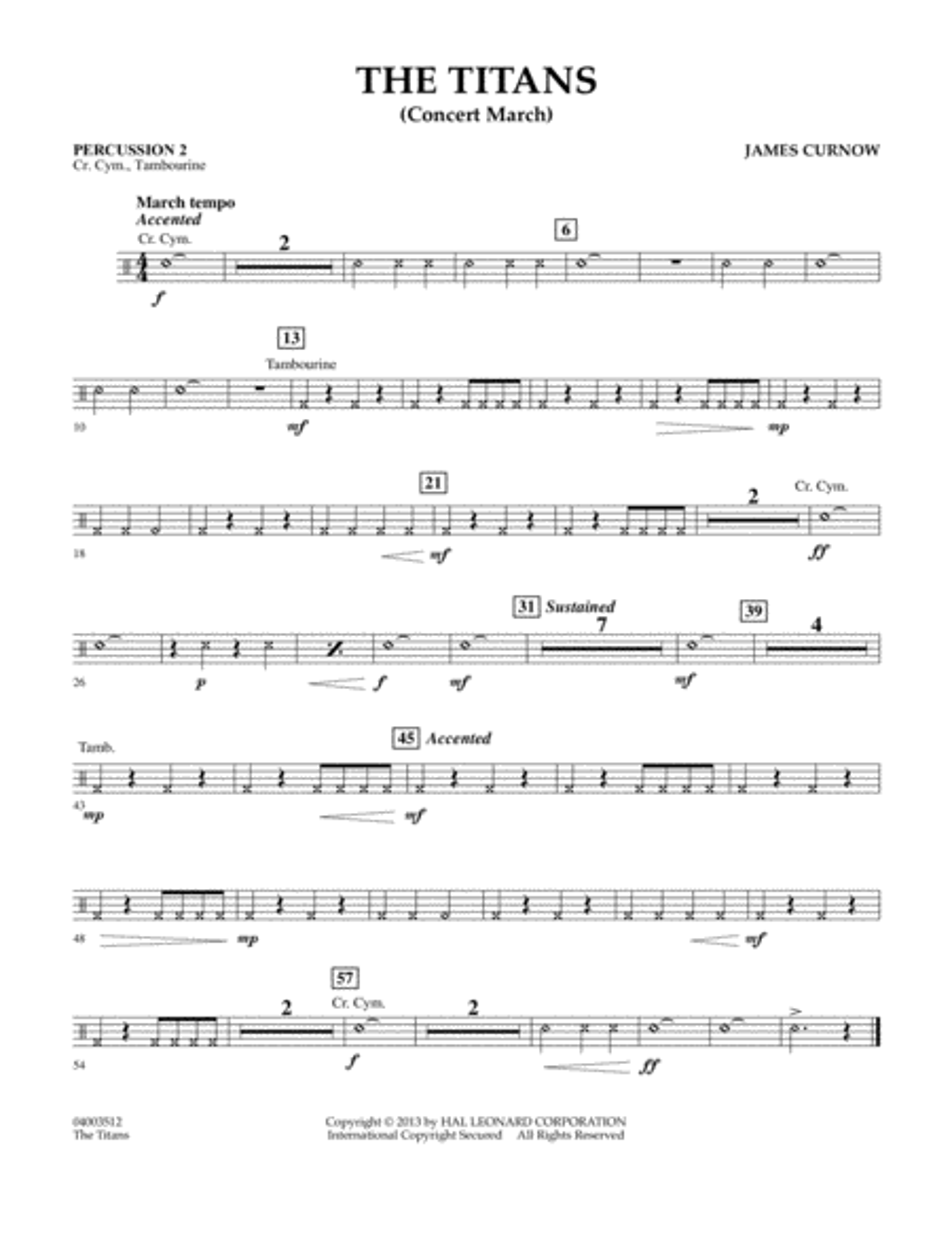 The Titans (Concert March) - Percussion 2