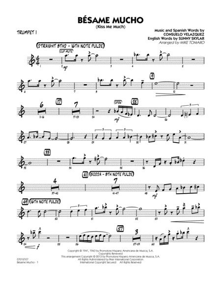 download besame mucho kiss me much trumpet 1 sheet music by mike tomaro sheet music plus. Black Bedroom Furniture Sets. Home Design Ideas