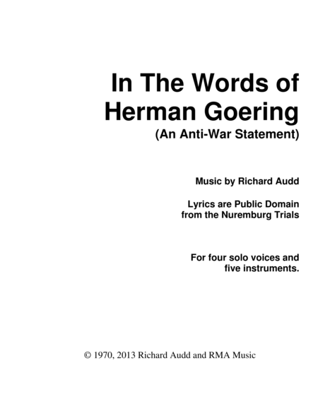 In The Words of Herman Goering