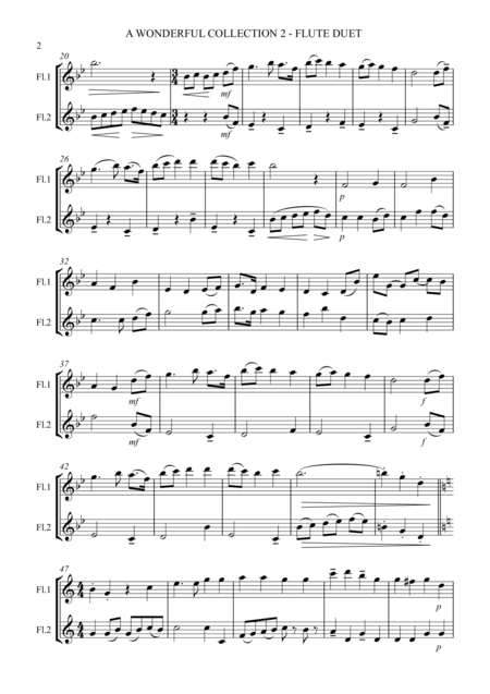 A Wonderful Collection 2- Loved Hymns for Flute Duet - SCORE