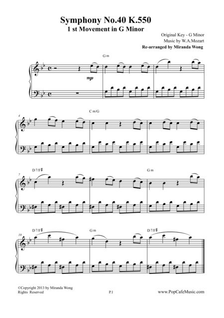 Symphony No.40 K.550 - 1st Movement for Piano Solo (G Minor)