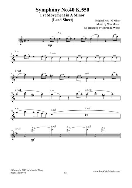 Symphony No.40 K.550 - 1st Movement for Violin or Flute Solo (A Minor)