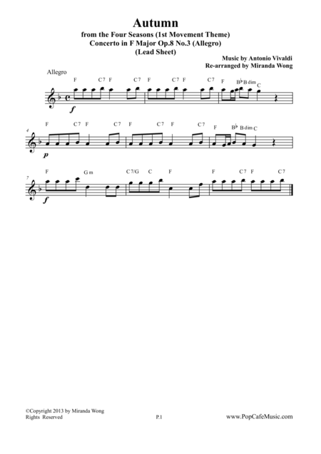 Autumn from Four Seasons - Lead Sheet in F