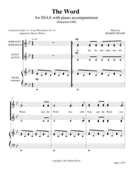 The Word (SSAA a cappella with optional piano accompaniment)