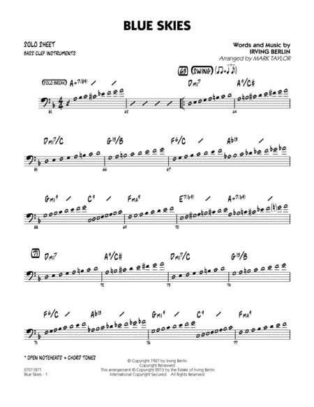 Blue Skies - Bass Clef Solo Sheet